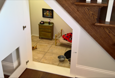 She Built Her Dog A Bedroom Under The Stairs And The Details Are Impressive