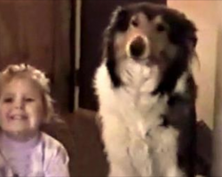 "Mom tells them both to ""smile."" Dog responds with the biggest smile, ever!"