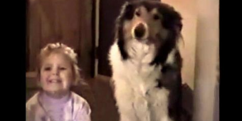 """Mom tells them both to """"smile."""" Dog responds with the biggest smile, ever!"""