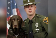Police officer and dog pose for a professional photo, but these pictures prove that the dog had other plans