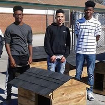 High school shop students build houses for dogs and cats in desperate need of shelter