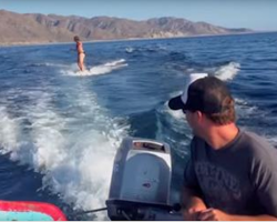 Girl Was Just Casually Waterskiing, But When She Looked Down Her Heart Skipped A Beat