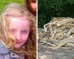 Little Cara Hears Noises In Woodpile And Thinks Something Is Terribly Wrong – Thank God She Screams For Her Dad