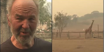 Deadly Flames Threaten Wildlife Site But One Man Stays Behind With Hose To Keep Animals Safe