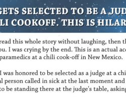 Man selected as judge at chili cook-off with hilarious results