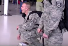 Serviceman Dropped To His Knees When His Parents Aren't There To Greet Him